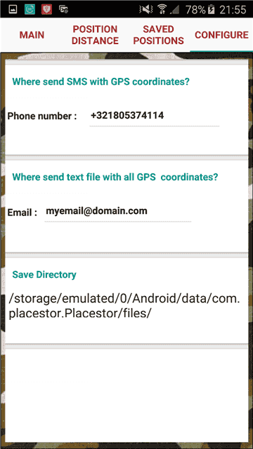GPS location finder.Settings phone email